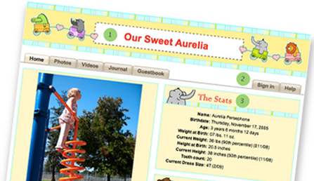 AboutMyBaby - baby scrapbooks, baby websites, baby blogs
