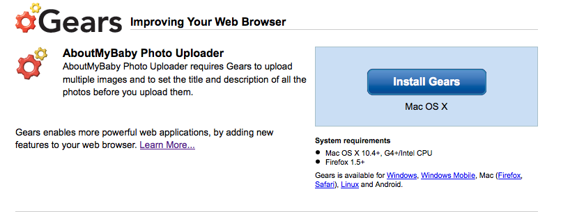 Screenshot of the first step of installing Gears.