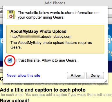 Screenshot of how to grant permission to Gears so that you can upload photos to your scrapbook.
